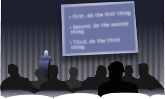 An illustration represents the viewing of a Powerpoint presentation.