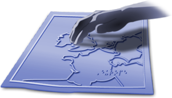Illustration of a hand feeling a tactile map represents Tactile Diagrams section of website.