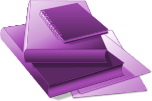 Illustration of a stack of generic textbooks represents Text Section.