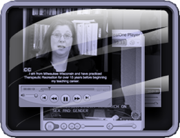 "Illustration of a monitor screen with ""talking head"" represents a video resource."