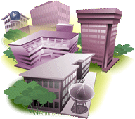 Illustration of a group of generic college buildings represents Academic Departments Section.