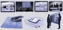 A group of computer graphic images representing the Media and Materials section of website.