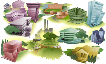 Illustration of a variety of buildings represents the Virtual Campus.